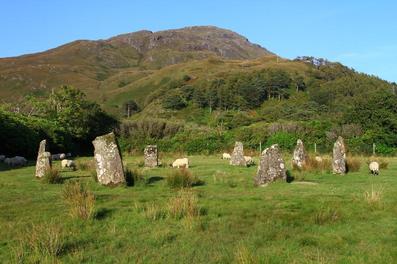 Kruh menhirů nedaleko Moy Castle.